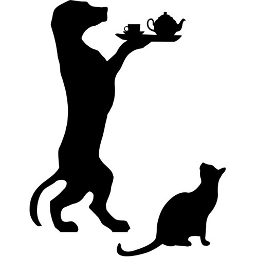 500x500 The Dog Butler With Tea And Cat Wall Decal Wilsongraphics On Artfire