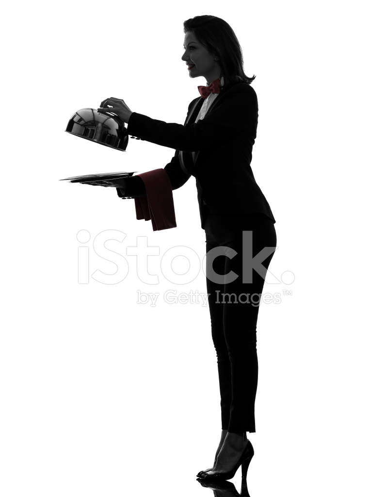 765x1024 Woman Waiter Butler Opening Catering Dome Silhouette Stock Photos