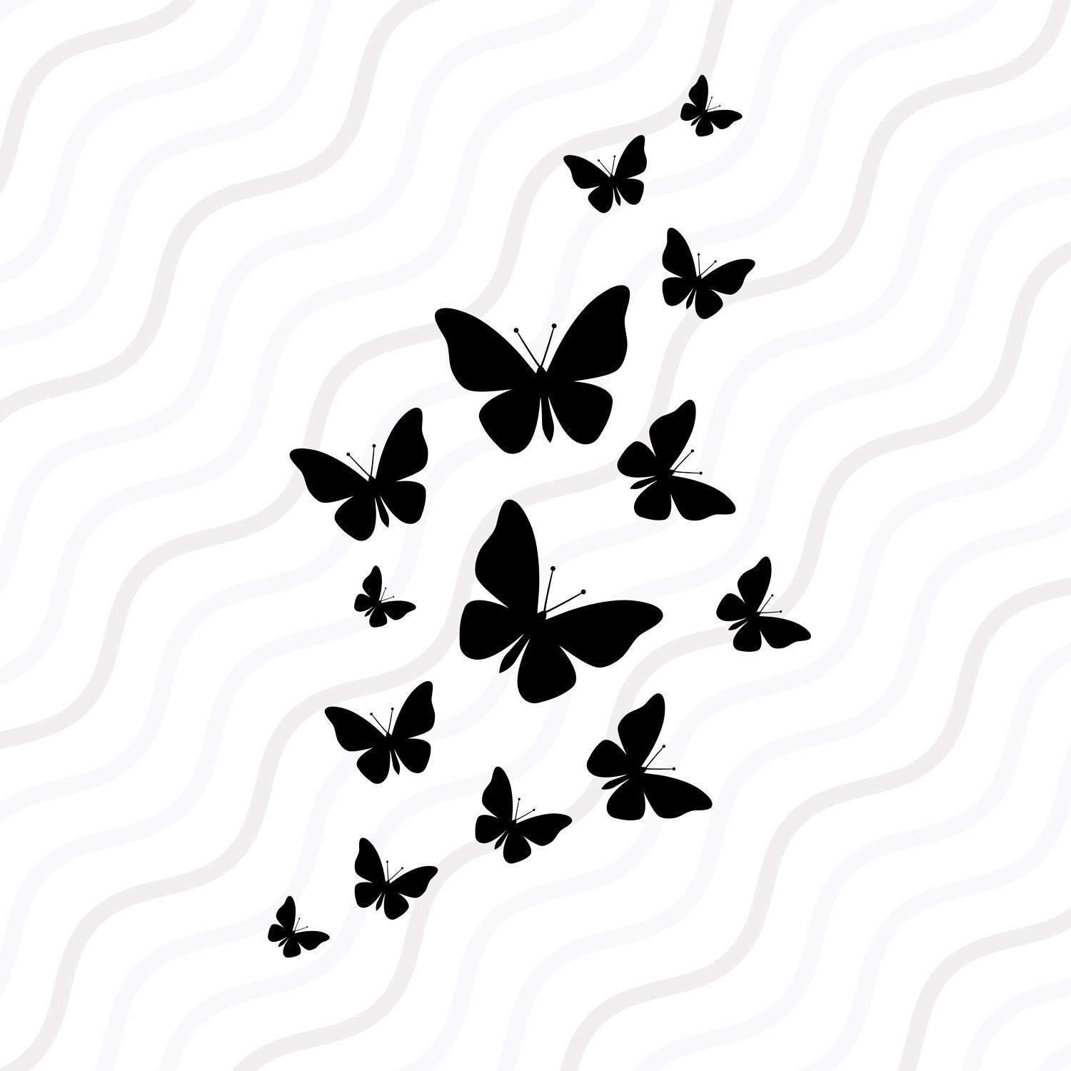 1500x1500 Fluttering Butterflies Svg, Butterfly Svg Cut Table Design,svg,dxf