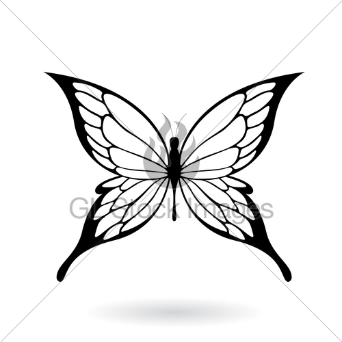 500x500 Black Butterfly Silhouette Illustration Gl Stock Images