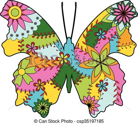 450x406 Vector Butterfly Silhouette Colorful Vector