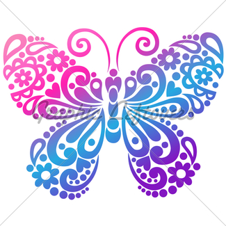 325x325 Butterfly Tattoo Silhouette Vector Illustration Design El Gl