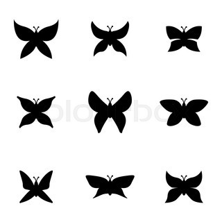 320x320 Butterfly Silhouette Tattoo Style Stock Vector Colourbox