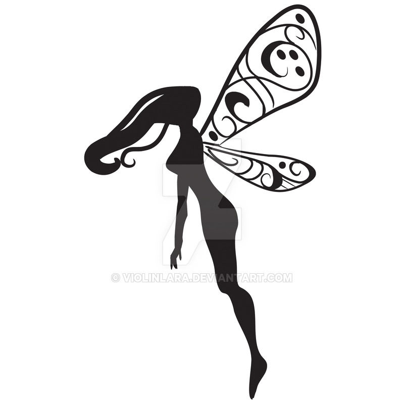 800x800 Cool Silhouette Flying Fairy Tattoo Design By Violinlara