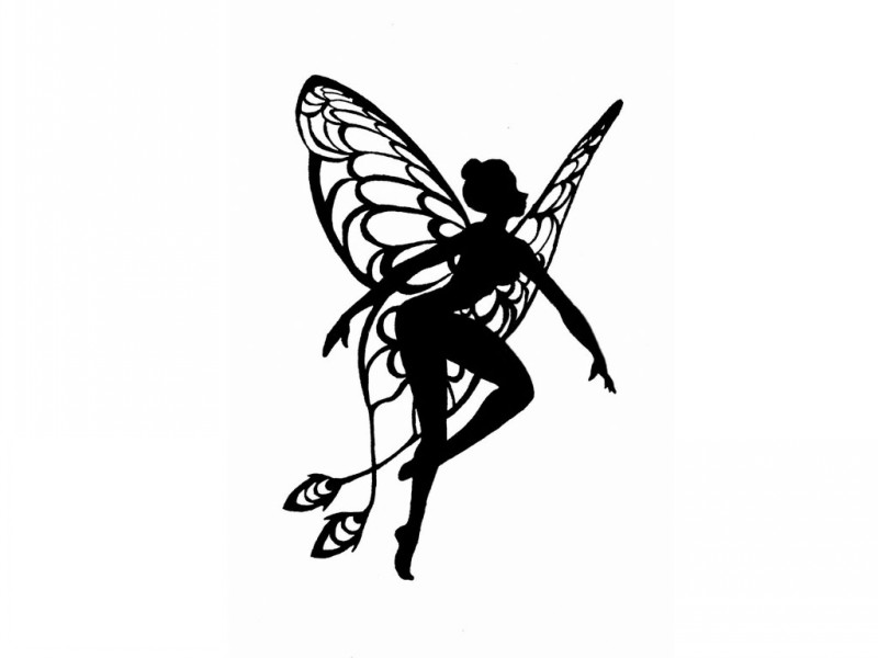 800x600 Sweet Black Fairy Silhouette With Peacock Feathers On Wings Tattoo