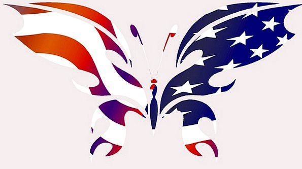 595x333 Butterfly, Flag, Standard, Usa, Insect, Bug, Silhouette, Cartoon