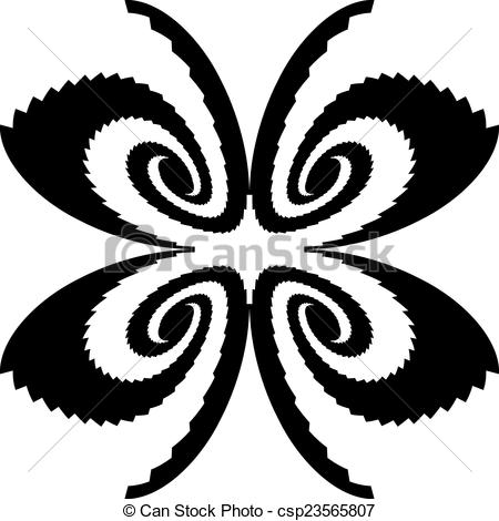 450x470 Design Monochrome Decorative Butterfly Silhouette. Abstract