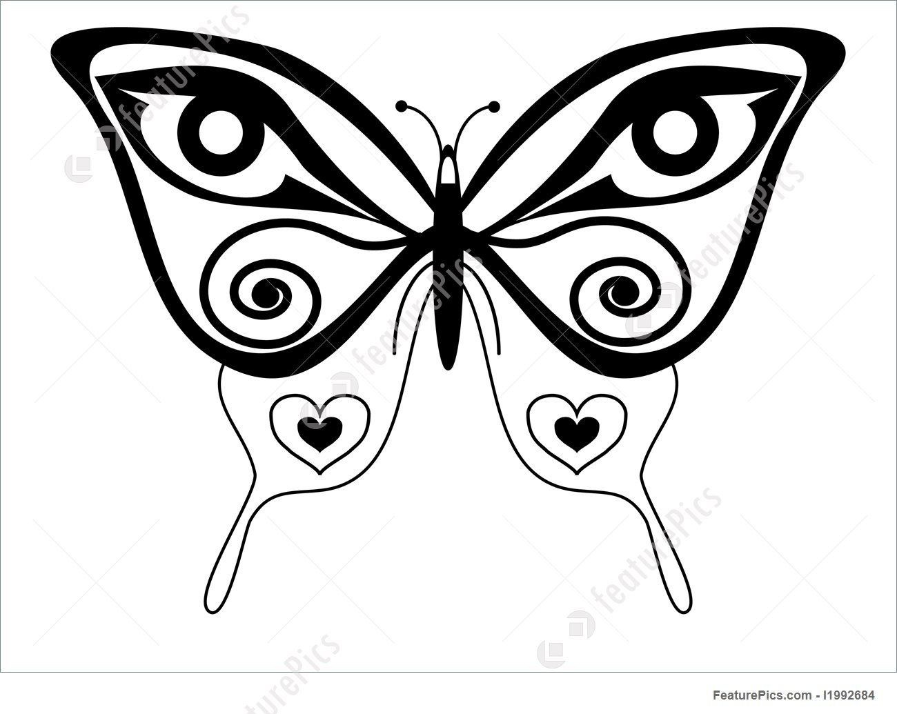1300x1035 Butterfly Tattoo Illustration