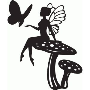 300x300 Silhouette Fairy On Mushroom With Flying Butterfly Tattoo Design
