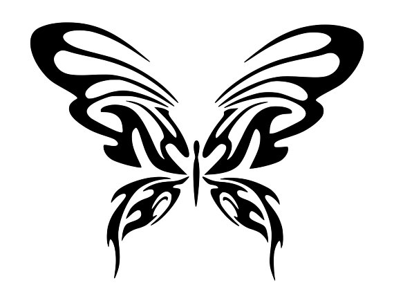 570x438 Tribal Butterfly Tattoo Svg Dxf Png Silhouette Cutting File