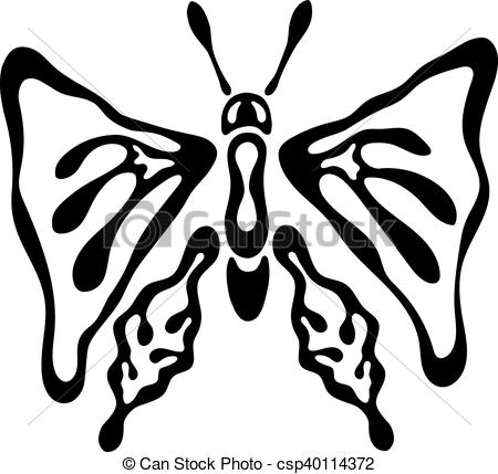 450x429 Silhouette Butterfly Logo, Black And White. Silhouette Vectors