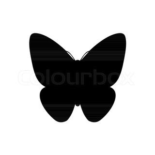 320x320 Vector Silhouette Butterfly On White Background Stock Vector