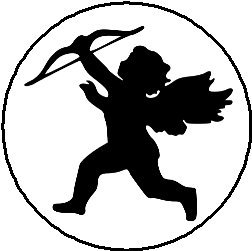 252x251 Cupid Silhouette 1.25 Pinback Button Badge Pin
