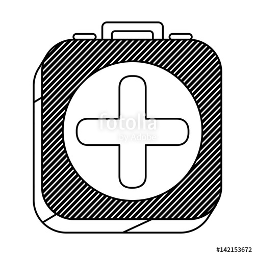 500x500 Square Silhouette Button With Contour First Aid Kit Vector