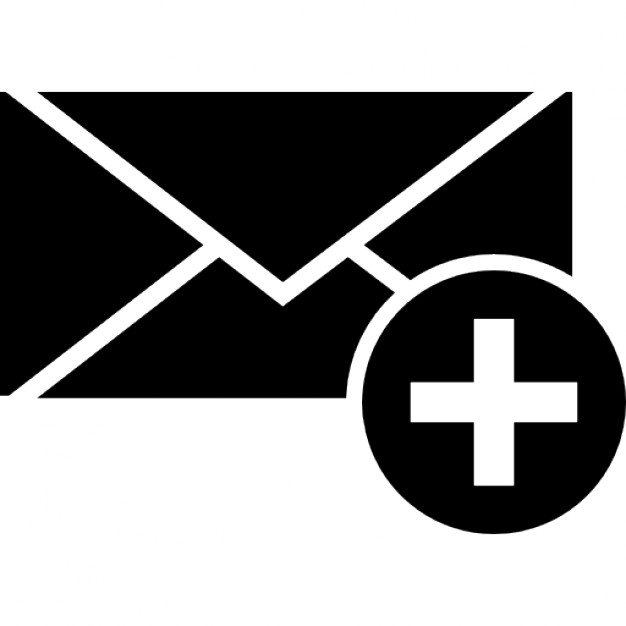 626x626 Envelope Silhouette With Add Button Icons Free Download
