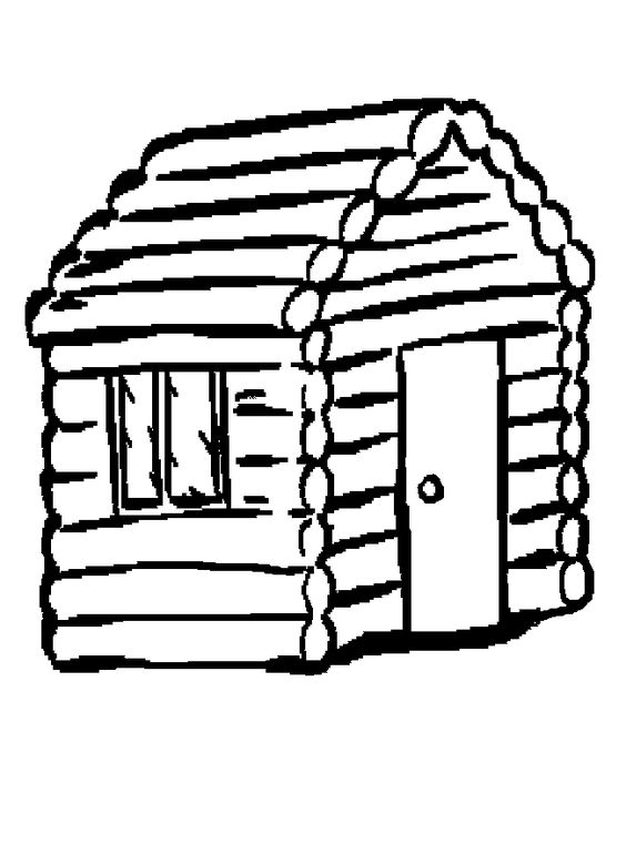 564x780 Log Cabin Silhouette Clipart Free