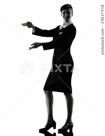348x450 Stewardess Cabin Crew Woman Pointing Silhouette