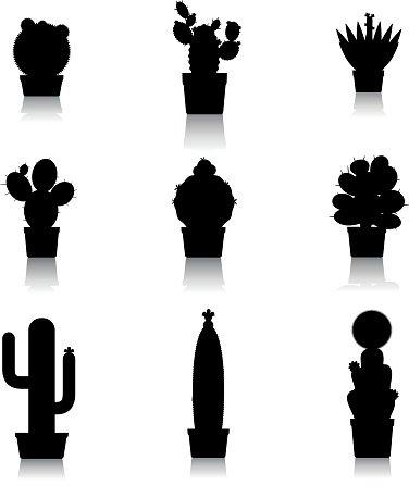 376x458 Cactus Silhouettes On White Background Premium Clipart