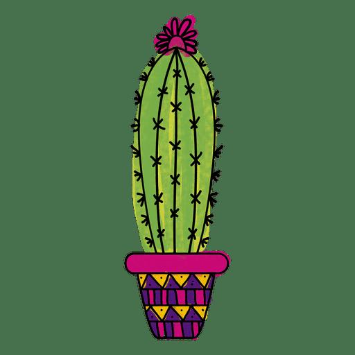 512x512 Watercolor Cactus Pot Ornamented Silhouette