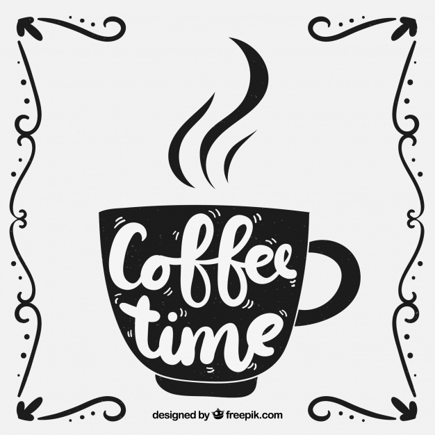 626x626 Coffee Cup Silhouette With Lettering Vector Free Download