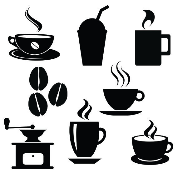570x570 Coffee Svg Silhouette Files Pack Cafe Vector Clipart Digital