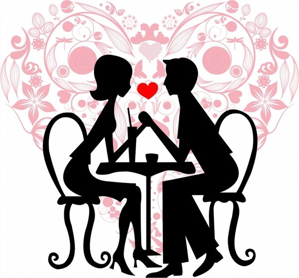 600x559 Couple In The Cafe Free Vector In Adobe Illustrator Ai ( Ai