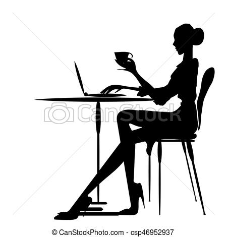 450x470 Cafe,worck,,women Silhouette, On A White. Cafe,work,,women