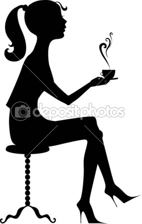 285x449 Silhouette Of A Girl With A Coffee Stockvectorbeeld
