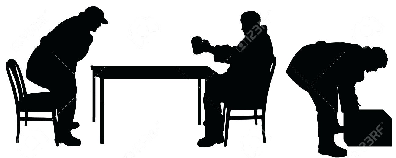 1300x520 Table Silhouette Vector Drawing People To Table In Cafe Silhouette