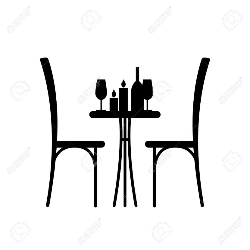 830x830 Wine And Candles On The Table Chair Silhouette Design
