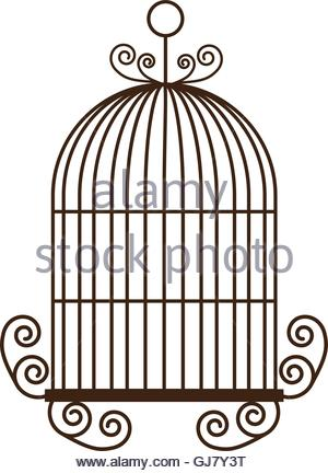 300x432 Birdcage Silhouette Vintage Icon, Vector Illustration Stock Vector