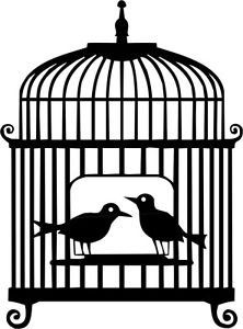 222x300 Die Cut Silhouette Birds In Cage X 8 For Card Making Wedding