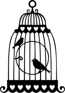 212x300 Die Cut Silhouette Love Birds In Cage X 8 For Cardmaking