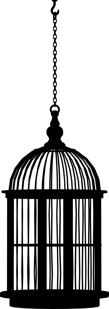 353x1000 Hanging Bird Cage Silhouette