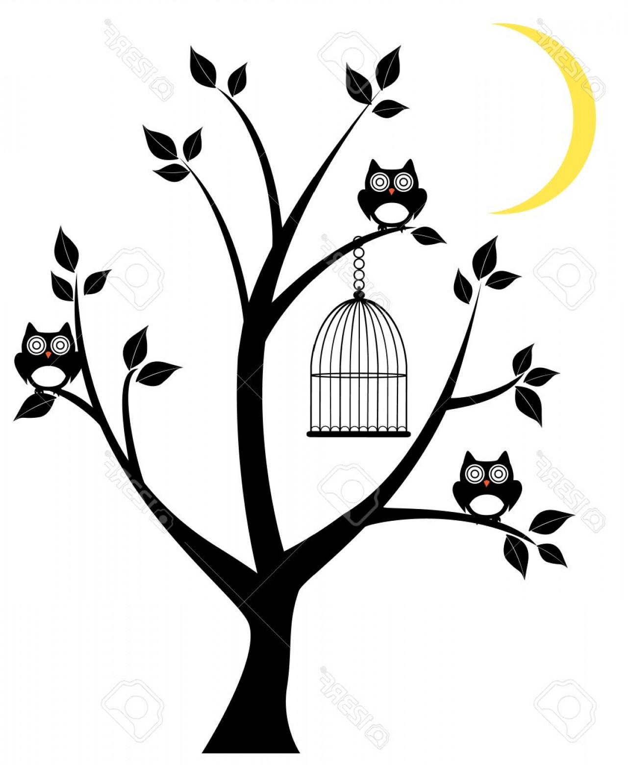 1281x1560 Photostock Vector Vector Tree Silhouette With Owls Cage And Moon