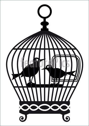 353x500 Bird Birdcage Silhouette