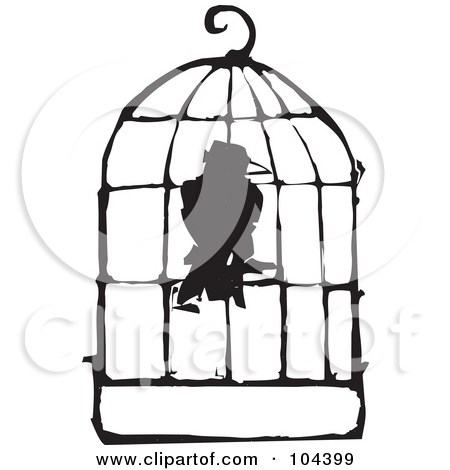 450x470 Bird Cage Black And White Clipart