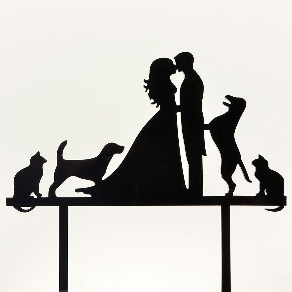 1000x1000 Mr Amp Mrs Dogs Amp Cats Acrylic Wedding Day Cake Topper Silhouette