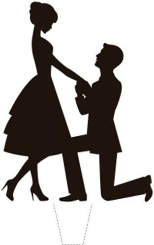 313x498 Novelty Engagement Romance Proposal Silhouette 12 Edible Stand Up