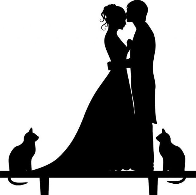 640x637 Wedding Cake Topper Silhouette Groom And Bride, Acrylic Cake