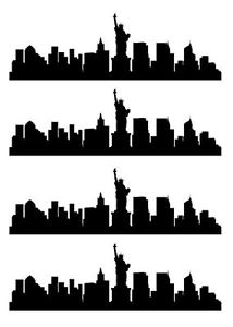 214x300 City Skyline Silhouette Edible Icing Cake Ribbon Ebay