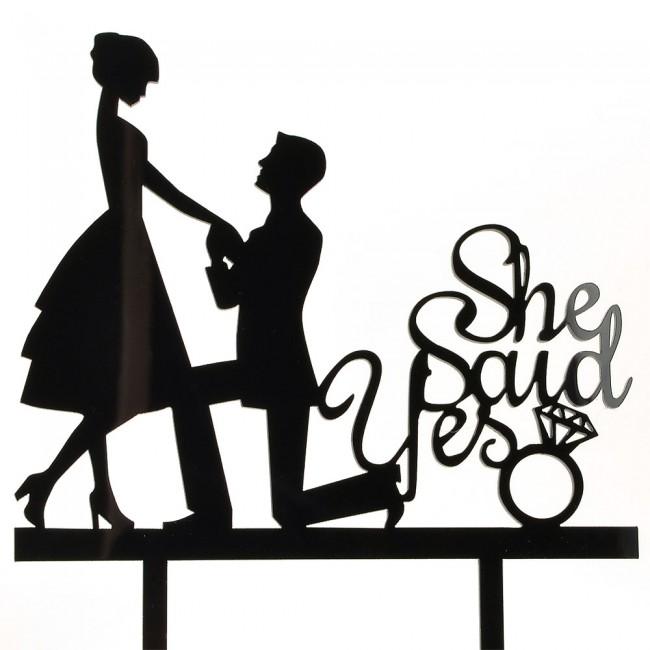 650x650 She Said Yes Black Acrylic Engagement Couple Wedding Day Cake
