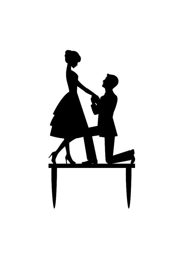 570x806 Wedding Cake Toppers Silhouette Photo Wedding Cake Clipart