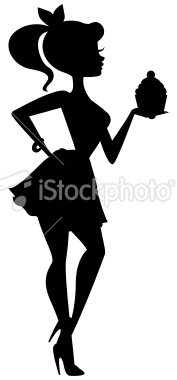 177x380 A silhouette of a cute girl holding a cupcake. Solid shape except
