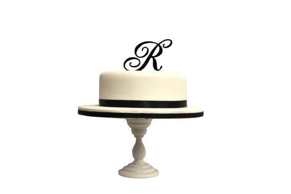 570x380 Monogram Silhouette Initial Letter Wedding Cake Topper Laser Cut
