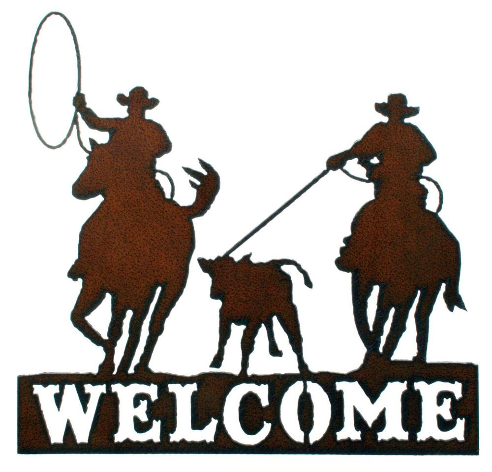 1000x961 Western Wall Decor Rustic Metal Welcome Sign Rodeo Lasso Western