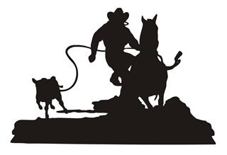320x219 Calf Roping Silhouette V7 Decal Sticker