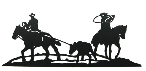 600x295 Western.wall.decor.calf.roping.jpg Silhouette
