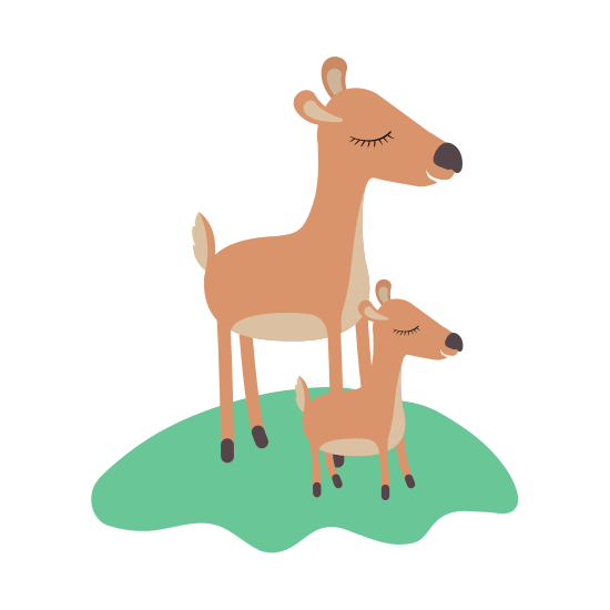 550x550 Cartoon Deer Mom And Calf Over Grass In Colorful Silhouette