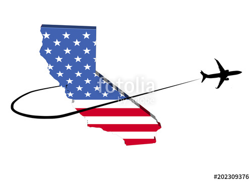 500x361 California Map Flag With Plane Silhouette And Swoosh 3d